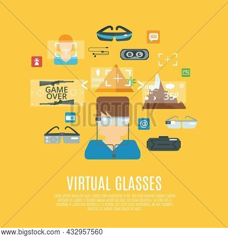 Virtual Glasses Concept With Cyberspace Electronic Equipment Flat Icons Set Vector Illustration