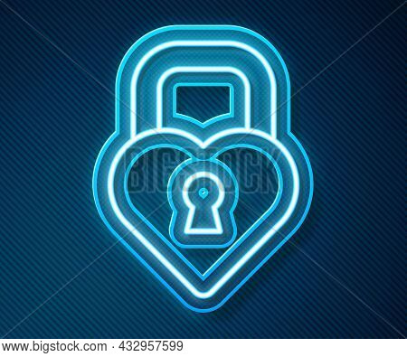 Glowing Neon Line Castle In The Shape Of A Heart Icon Isolated On Blue Background. Locked Heart. Lov