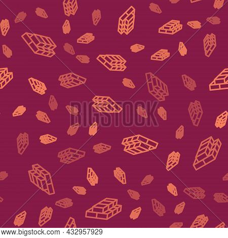 Brown Line Stacks Paper Money Cash Icon Isolated Seamless Pattern On Red Background. Money Banknotes
