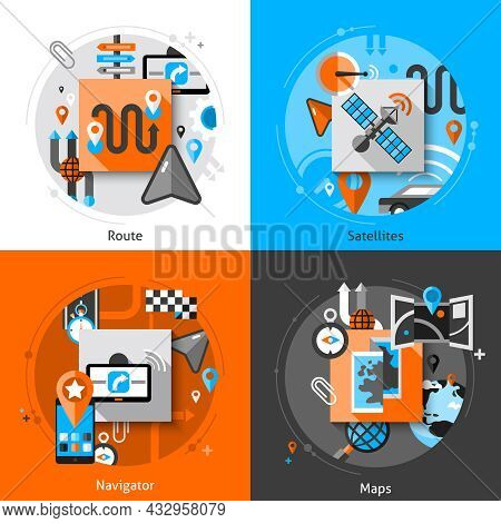 Navigation Design Concept Set With Route Satellites Navigator And Maps Flat Icons Isolated Vector Il