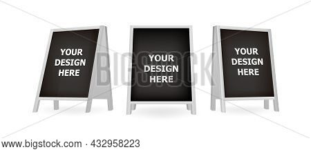 Realistic Blank Board For Menu Announcement. Set Of White Chalkboard A-frame Standees. Special Stree