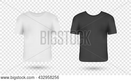 Realistic Man T-shirts Mockups With Front Views. Black, White Colours T-shirts With Short Sleeves. C