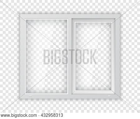 Realistic Plastic Window With White Frame. Double Plastic Window Mockup Template. Windowpane Frame A