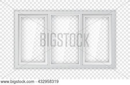 Large Triple Plastic Window. Realistic Plastic Window Mockup Template. White Windowpane Frame And Cl