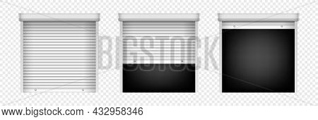 Set Of Roller Shutter Gate. Open And Closed Roller Shutter Doors. Metal Industrial Shutter Doors For