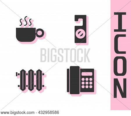 Set Telephone Handset, Coffee Cup, Heating Radiator And Please Do Not Disturb Icon. Vector