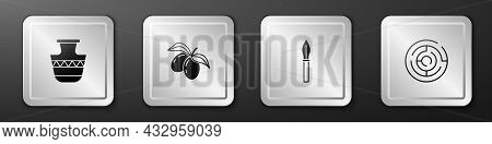 Set Ancient Amphorae, Olives Branch, Medieval Spear And Minotaur Labyrinth Icon. Silver Square Butto