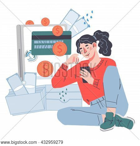 Online Payment Or Passive Income With Woman Get Or Transfering Money, Flat Vector.