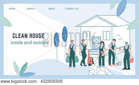 Web Site Banner Of Cleaning Company. Design For Web Page, Banner Or Presentation.