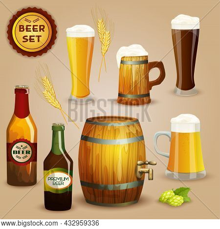 Premium Beer Foam Head Glasses And  Wooden Mug And Barrel Icons Composition Advertisement Poster Abs