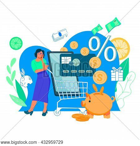 Savings On Online Purchases And Cashback Concept, Flat Vector Isolated.