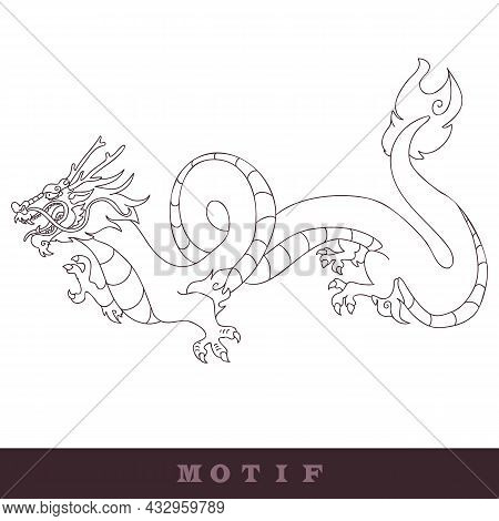 Oriental Chinese Dragon Illustration. Vector Digital Art Mythical Beast Graphic. Eastern Reptile Pri