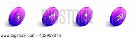 Set Isometric Mobile With Wi-fi Wireless, Credit Card, Please Do Not Disturb And Smart Tv Icon. Vect