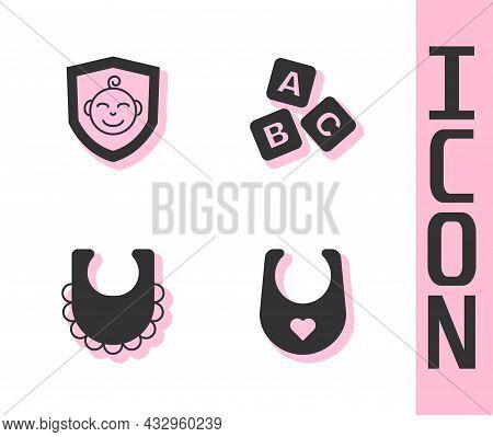 Set Baby Bib, On Shield, And Abc Blocks Icon. Vector