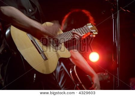 Two Guitarists On Live Concert