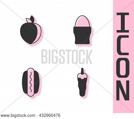 Set Hot Chili Pepper, Plum Fruit, Hotdog And Chicken Egg On Stand Icon. Vector