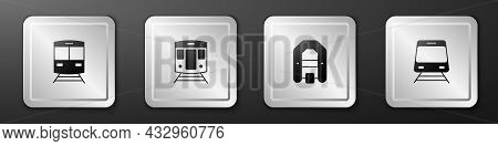 Set Train And Railway, Rafting Boat And Icon. Silver Square Button. Vector
