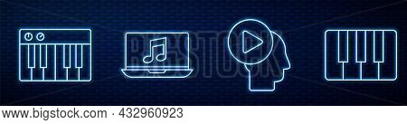 Set Line Head People With Play Button, Music Synthesizer, Laptop With Music Note, Music Synthesizer
