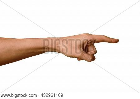 Hand Of Adult Man With Forefinger Extended Forward On White Background