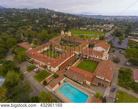 Old Mission Santa Barbara Aerial View At 2201 Laguna Street In City Of Santa Barbara, California Ca,