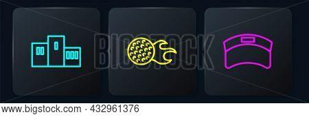 Set Line Award Over Sports Winner Podium, Sun Visor Cap And Golf Ball. Black Square Button. Vector
