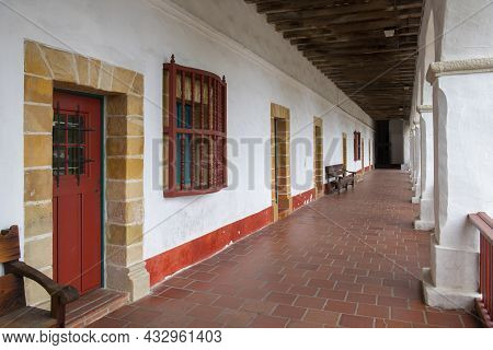 Courtyard Of Old Mission Santa Barbara. This Church Is A Spanish Colonial Style Mission Built In 182