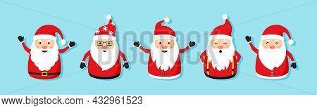 Christmas Santa Claus Vector Character Set, Cute Noel Icon, Snowman Emoticons. Winter Holiday Illust
