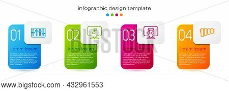 Set Line Sound Mixer Controller, Music Note, Tone, And Pan Flute. Business Infographic Template. Vec