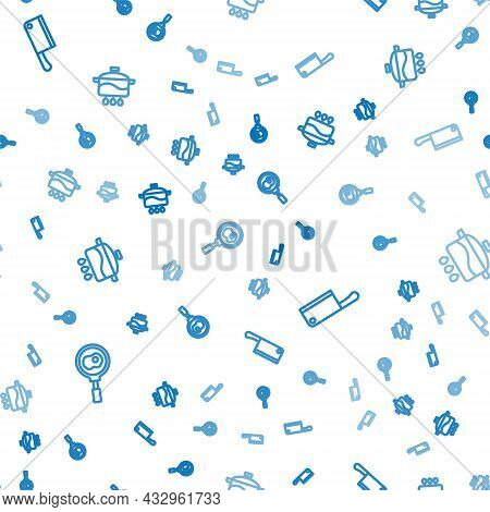 Set Line Fried Eggs On Frying Pan, Meat Chopper And Cooking Pot On Seamless Pattern. Vector