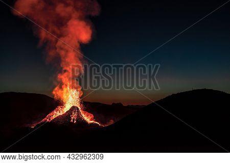 Fagradalsfjall Volcanic Eruption In The Night Before Sunrise In Reykjanes Peninsula Around 40 Kilome