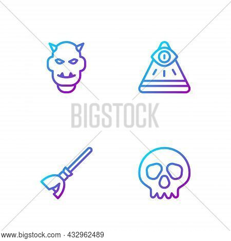 Set Line Skull, Witches Broom, Mask Of The Devil With Horns And Masons. Gradient Color Icons. Vector