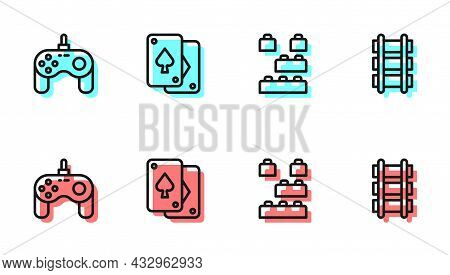 Set Line Toy Building Block Bricks, Gamepad, Playing Cards And Railway Icon. Vector