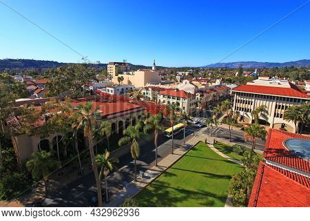 Aerial View Of Santa Barbara Historic City Center With Santa Ynez Mountains At The Background, From