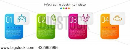 Set Line Gamepad, Toy Horse, Slingshot And Car. Business Infographic Template. Vector