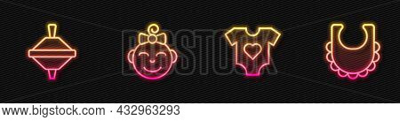 Set Line Baby Clothes, Whirligig Toy, Little Girl Head And Bib. Glowing Neon Icon. Vector