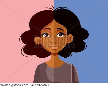 Sad And Happy Expressions Of A Young Woman Vector Illustration