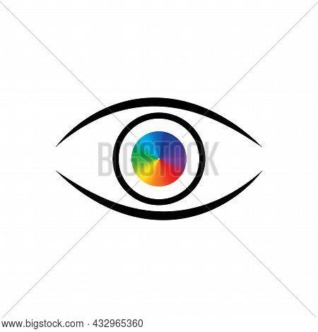 Colorful Eyeball In Black Eyelid. Design Art Concept. Abstract Futuristic Background. Vector Illustr