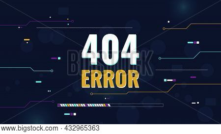 Vector Abstract Techno Background, 404 Error Concept. Non-existent Page. Error On The Site. Design T