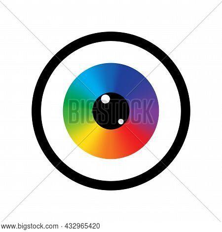 Rainbow Eyeball In Black Circle Icon. Design Art Concept. Futuristic Background. Vector Illustration