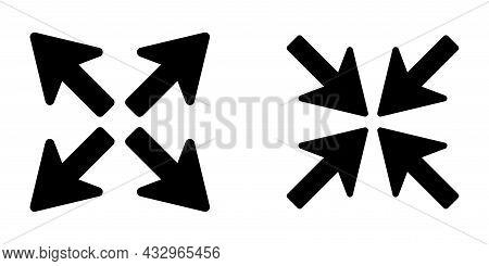 Black Arrows Inward Outward. Pointer Arrow Icon. Line Emblem. Navigation Pointer. Vector Illustratio