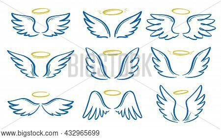 Angel Doodle Wing And Halo Set. Hand Drawn Sketch Style Wing. Angel, Love, Religion Concept Vector I