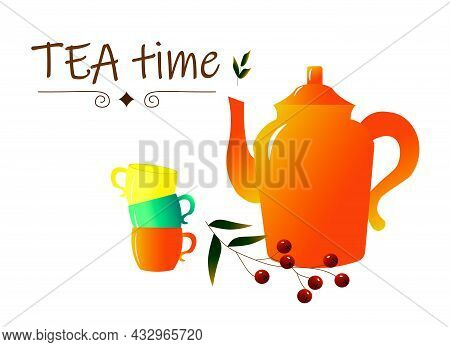Card Template With Teapot And Cups. Illustration For The Tea Party. Vector Illustration With Place F