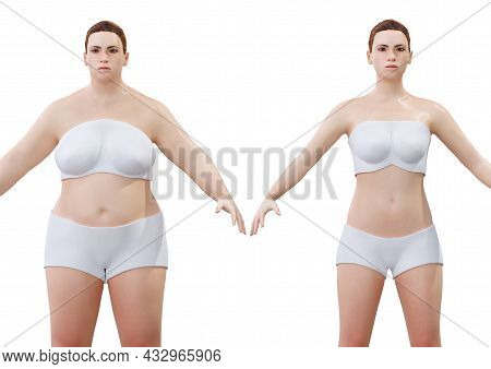 Young Woman Before And After Weight Loss And Slimming Isolated On White Background. 3d Rendering