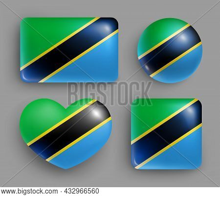Set Of Glossy Buttons With Tanzania Country Flag. Eastern Africa Republic National Flag, Shiny Geome