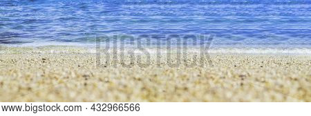 Summer Beach Low Angle View Background.close Up Wave Of Blue Sea On Sand Beach Seashore