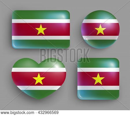 Set Of Glossy Buttons With Suriname Country Flag. South America Country National Flag, Shiny Geometr