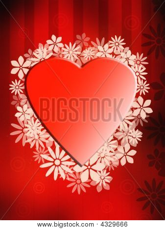 Valentine's heart on red old vintage background poster