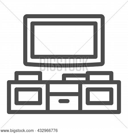 Tv And Tv Stand Line Icon, Interior Design Concept, Television Unit Cabinet Vector Sign On White Bac