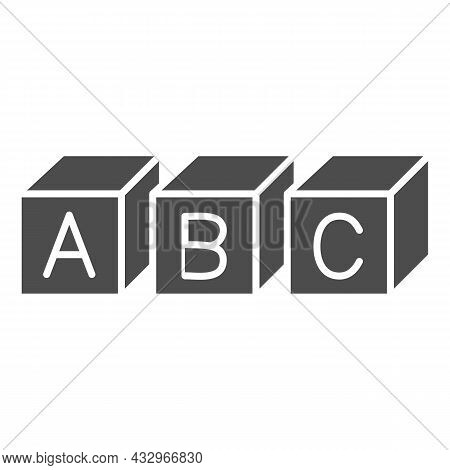 Abc Cubes Alphabet Solid Icon, Linguistics Concept, Toy Cubes With Letters Vector Sign On White Back