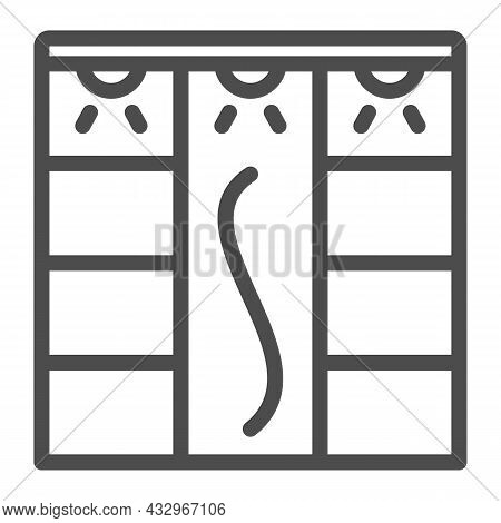 Sliding Wardrobe With Lamps Line Icon, Interior Design Concept, Closet With Lighting Vector Sign On
